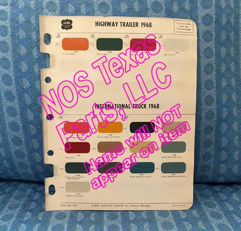 1968 International Truck & Highway Trailers Original Acme Paint Color Chips