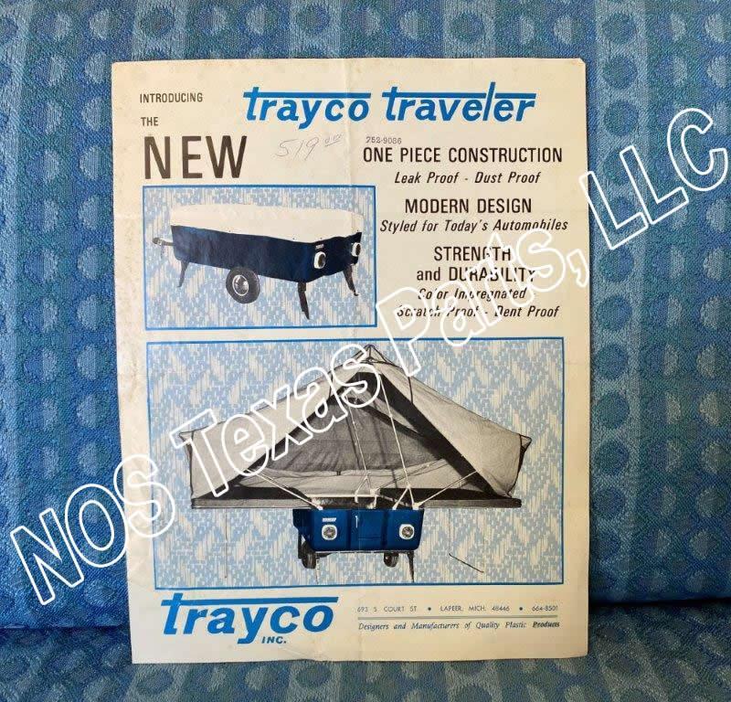 1968 Trayco Traveler Pop-Up Camper Trailer Original Sales Flyer