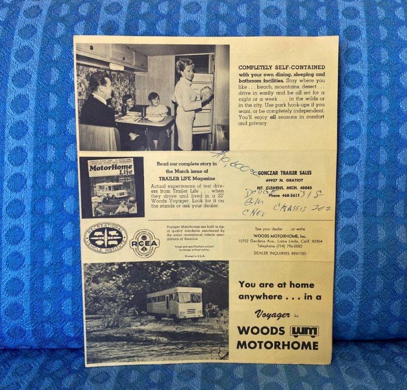 1968 Woods Voyager Motorhome Original Sales Brochure