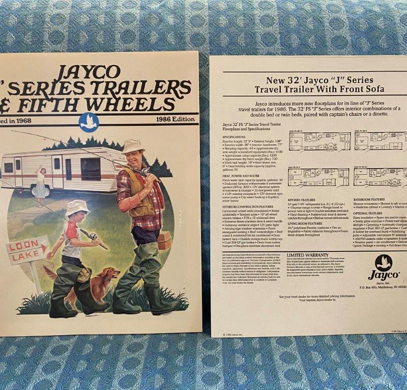 "1986 Jayco ""J"" Series Travel Trailer & 5th Wheel Original Sales Brochure"