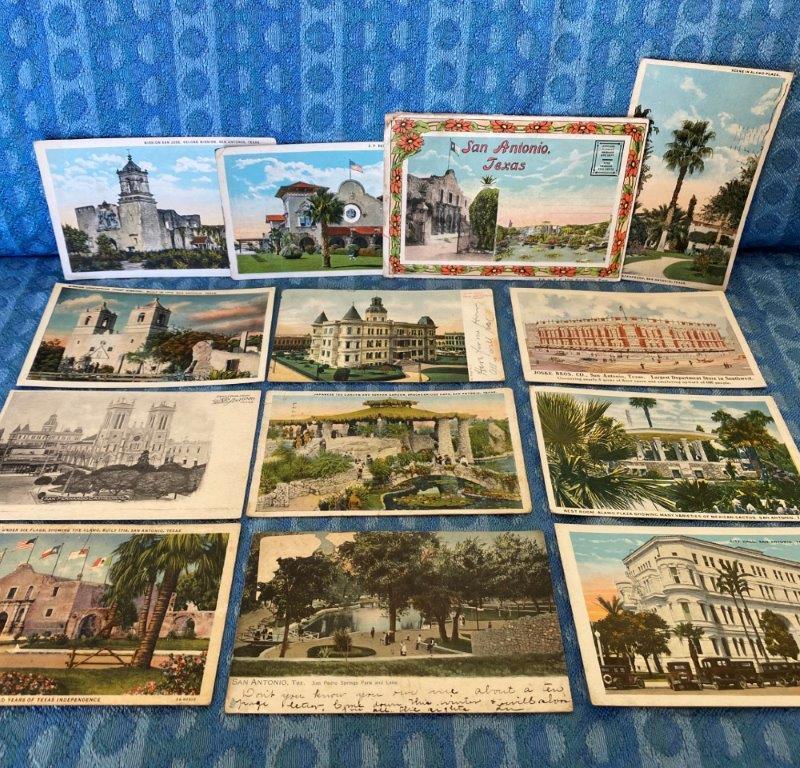 San Antonio Texas Original Pre-1930 Postcard Lot of 13 Pieces