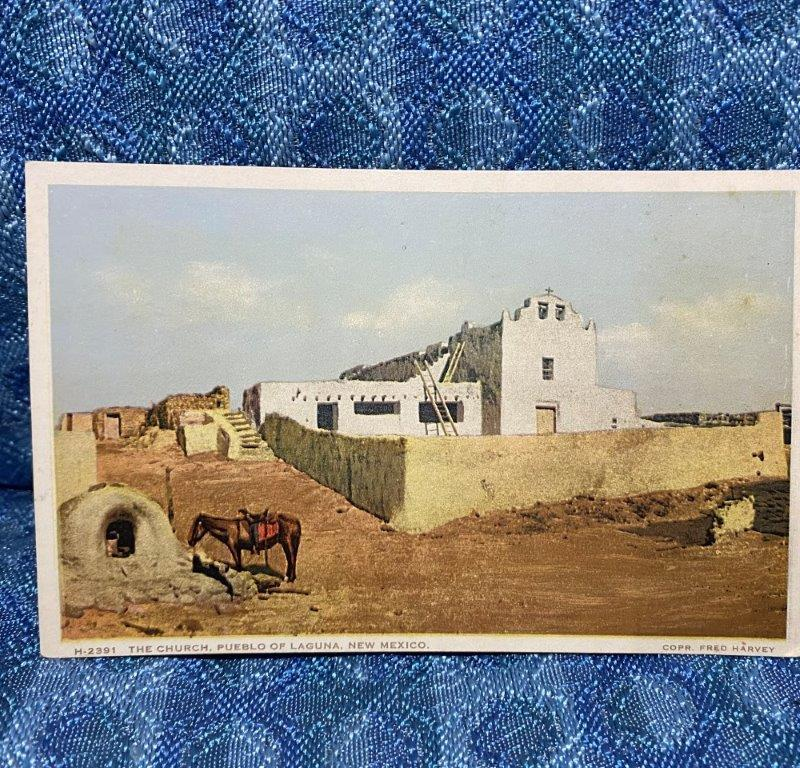 The Church, Pueblo of Laguna New Mexico Original Linen Postcard - Unposted