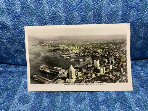 Vancouver B. C. Canada Original Photo Postcard Aerial View Looking East