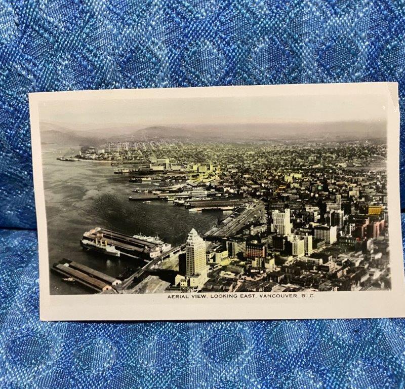Vancouver B. C. Canada Original Photo Postcard Aerial View Looking East