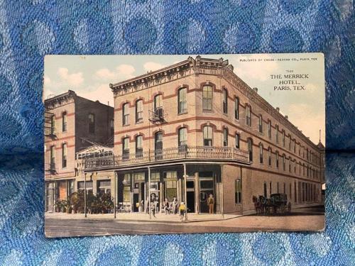 1915 Merrick Hotel Paris Texas Original Color Photo Postcard