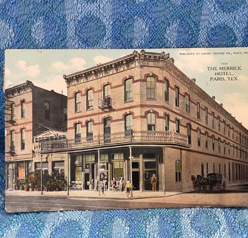 1915 Merrick Hotel Paris Texas Original Color Photo Postcard