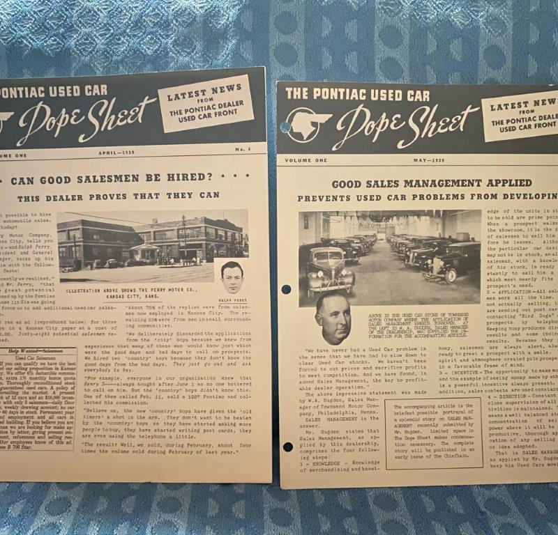 "1939 Pontiac Dealer Original Used Car ""Dope Sheet"" 2 Pieces Vol 1, Numbers 4 & 5"