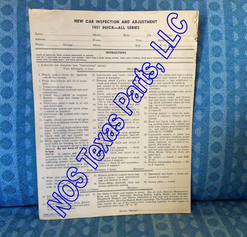 1951 Buick New Car Inspection & Adjustments Original Dealer Checklist - 2 Pieces