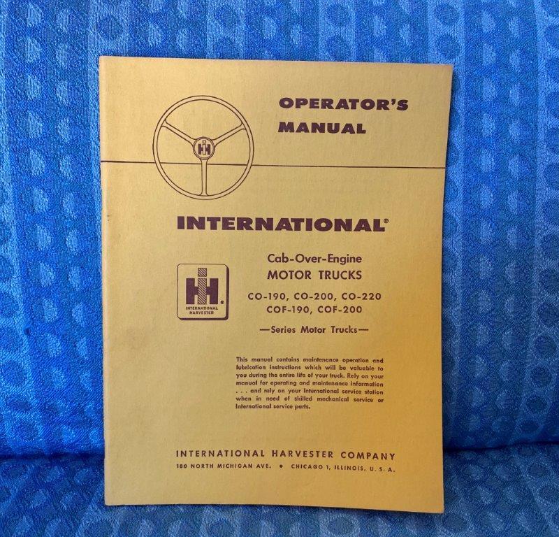 1958 International Truck Cab-Over ORIGINAL Operators Manual CO & COF 190 200 220