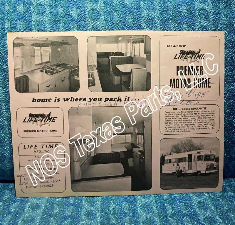 1968 Lifetime Premier Motorhome Original Sales Flyer