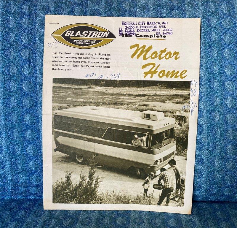 1969 Glastron Motor Home Original Sales Flyer & Price Sheet - Austin Texas