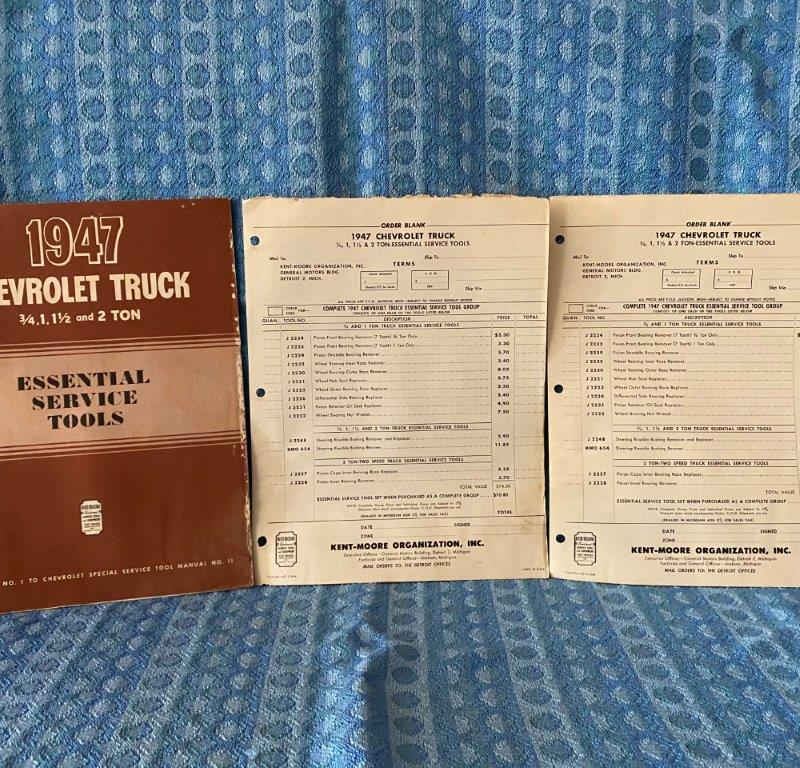 1947 Chevrolet Truck 3/4 to 2 Ton Essential Service Tools Catalog & Order Forms