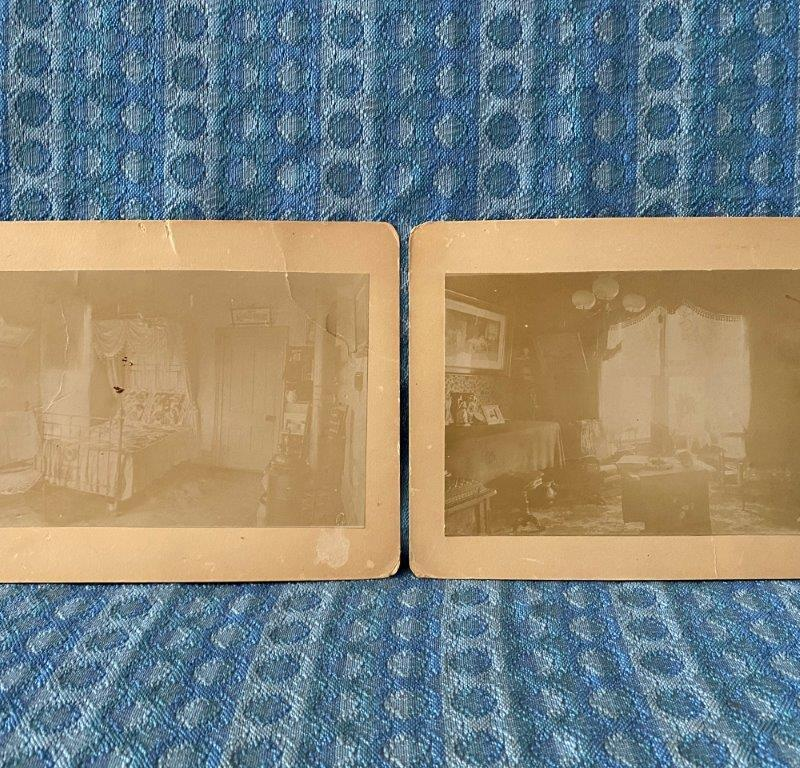C 1900 Pair of Cabinet Cards, Living Room & Bedroom Martinez Home El Paso Texas