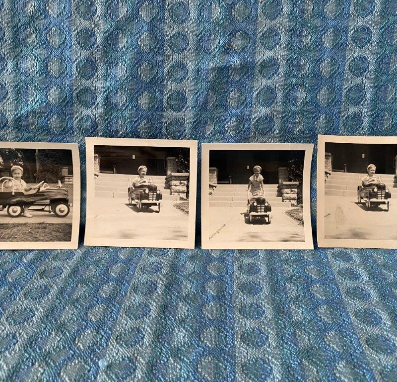 C. 1948 Lot of 4 Original Snapshots little boy in Pedal Car Firetruck El Paso TX