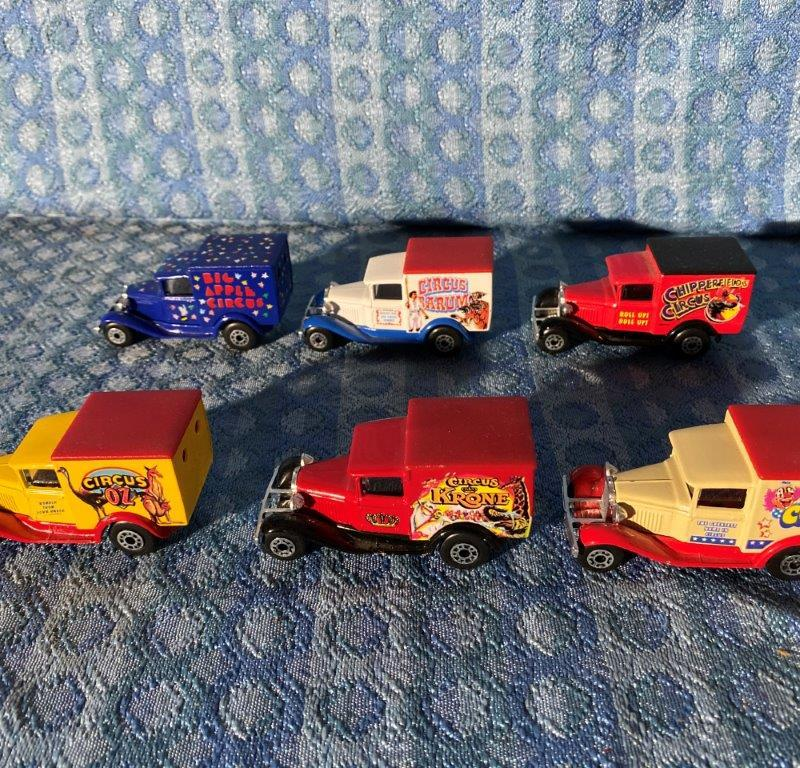 1930 Ford Model A Vans Circuses of the World Set of 6 by Matchbox International