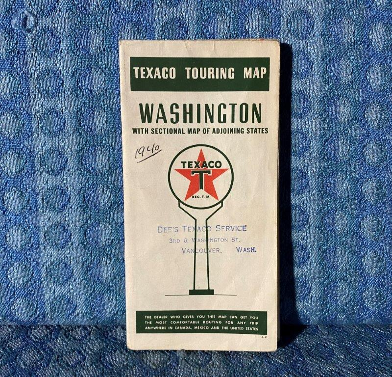 1940 Washington State Original Texaco Touring Road Map