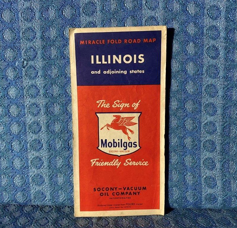 1950 Mobilgas Illinois Original Road Map