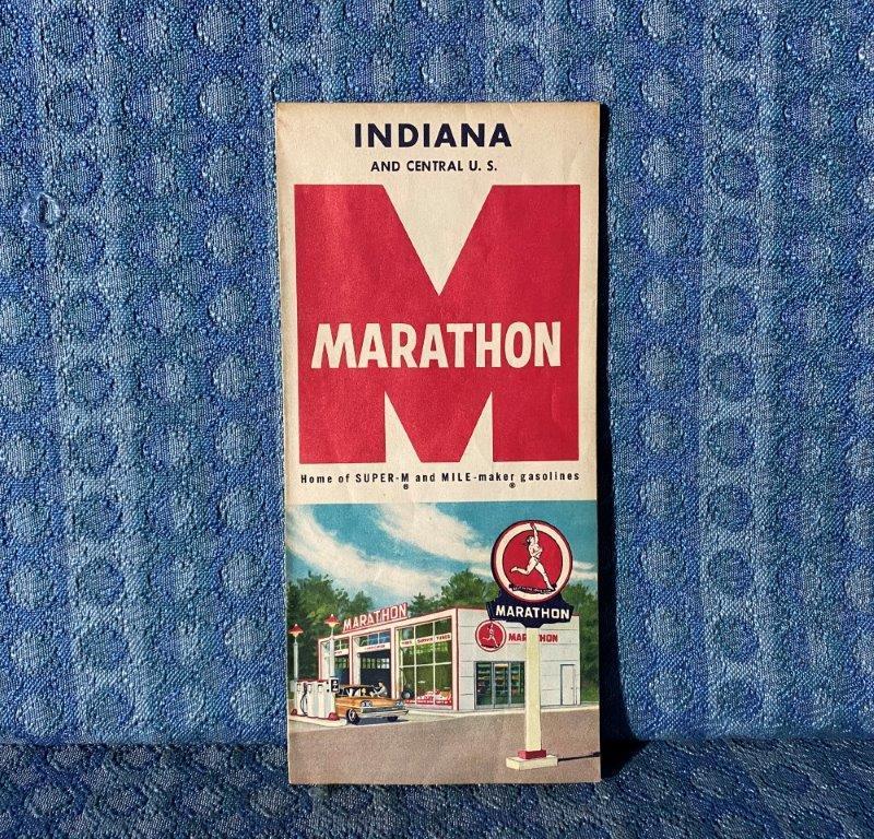 1959 Marathon Gasoline Indiana & Central U.S. Original Road Map