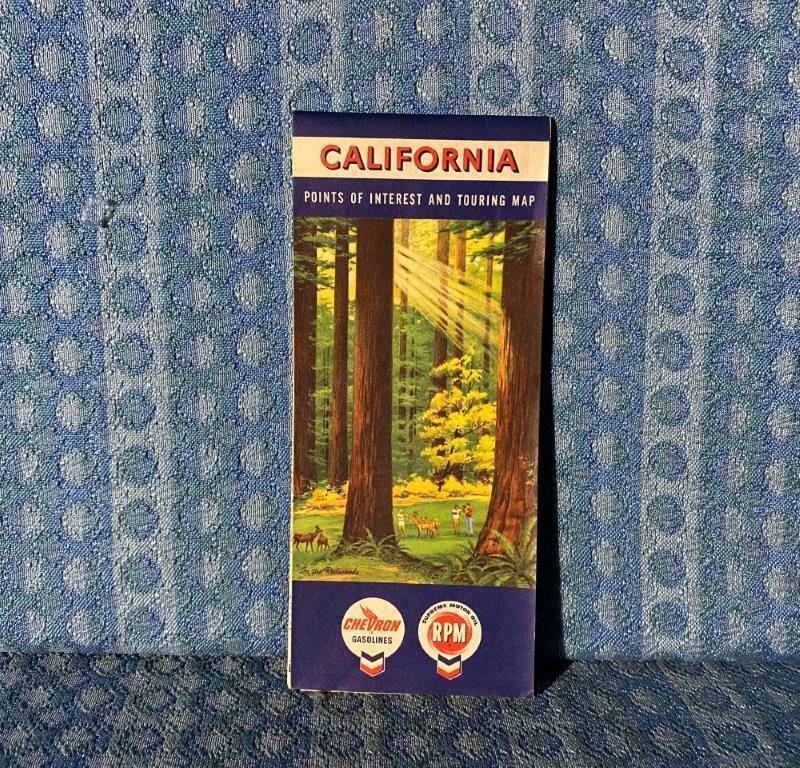 1960 California Chevron RPM Original Road Map & Points of Interest Touring Map