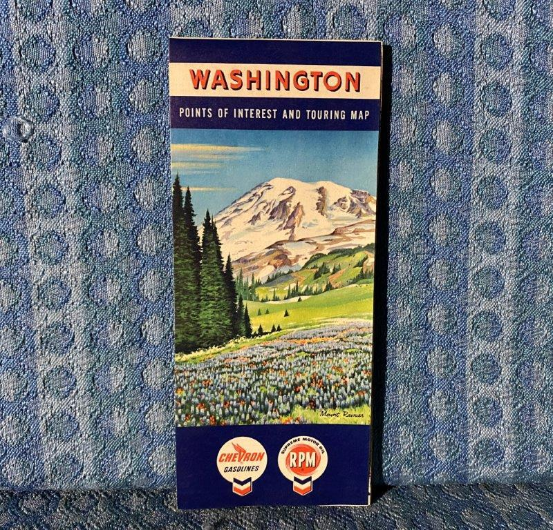 1960 Washington State Chevron RPM Original Road Map