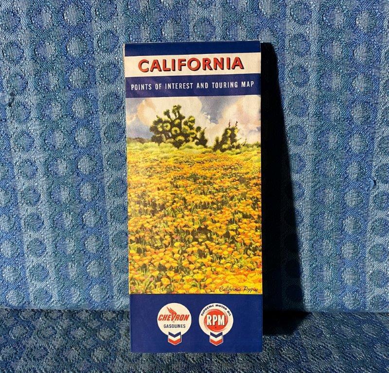 1961 California Chevron RPM Original Road Map & Points of Interest Touring Map