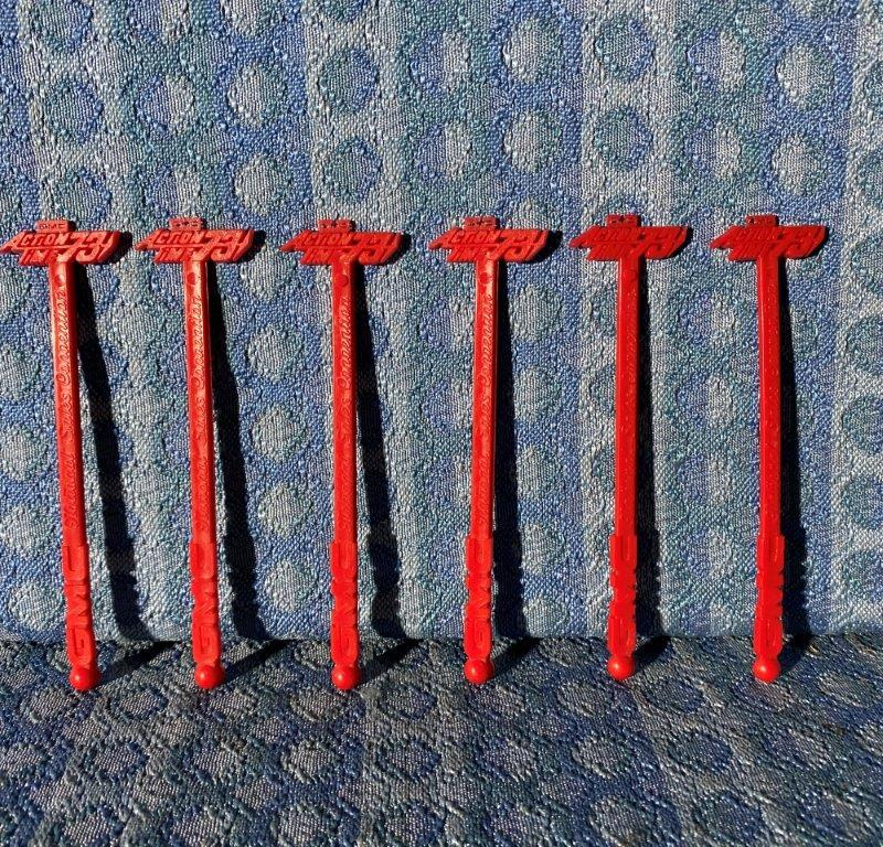 """1973 GMC """"Action Time"""" National Sales Convention Lot of 6 NOS Swizzle Sticks"""