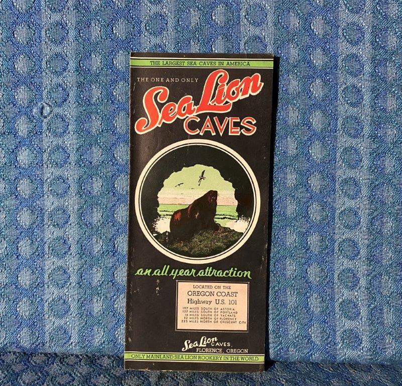 Circa 1948 Sea Lion Caves Original Map & Brochure, Florence Oregon