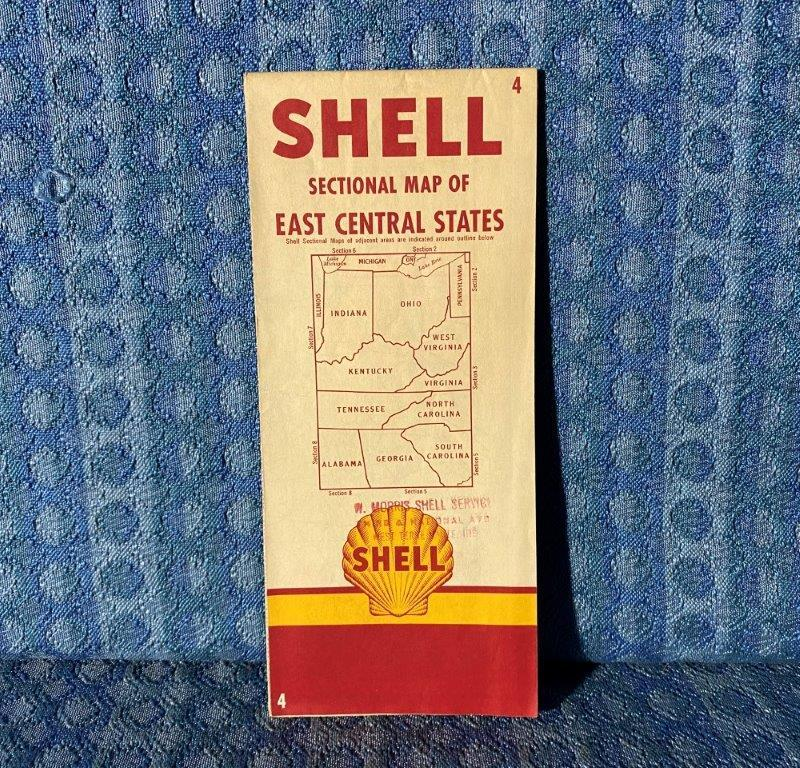 Circa 1950 Shell Oil Co. Sectional Map of East Central States Indiana to Georgia