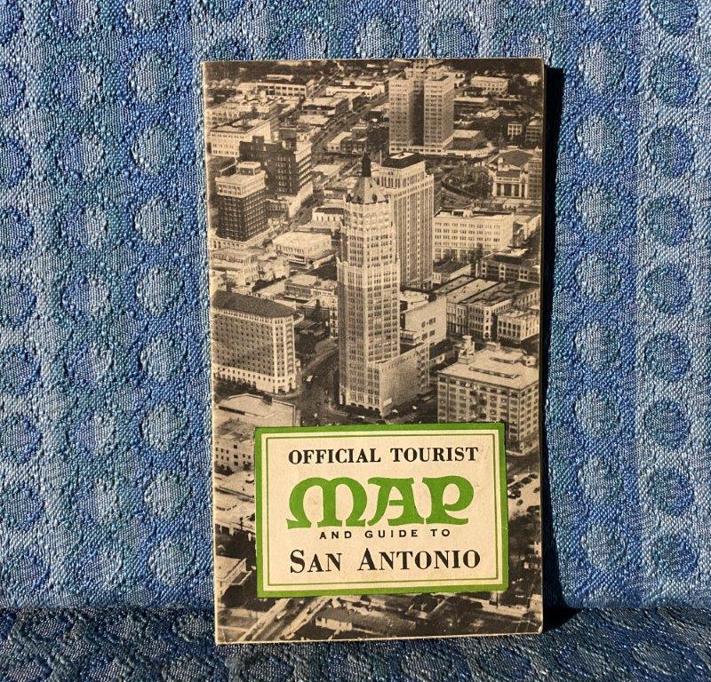 Vintage Circa 1947 San Antonio Texas Official Tourist Map & Street Guide