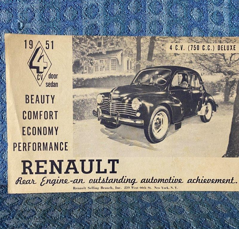 1951 Renault 4CV 4 Door Sedan Original Sales Flyer U.S. Market