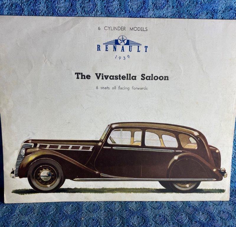 1939 Renault 6 Cyl Vivastella Saloon Original Sales Flyer in English