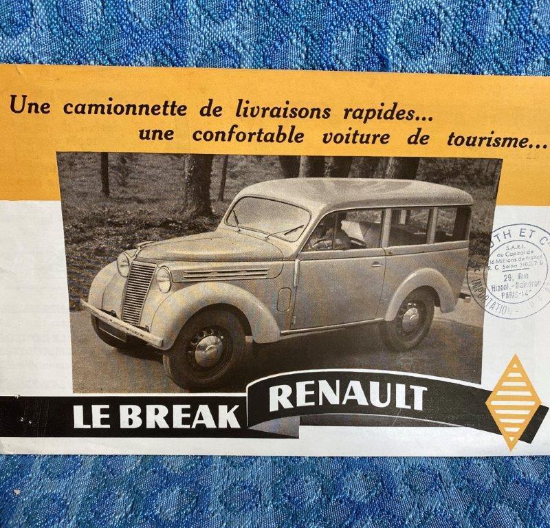 1948 Le Break Renault Original French Sales Brochure