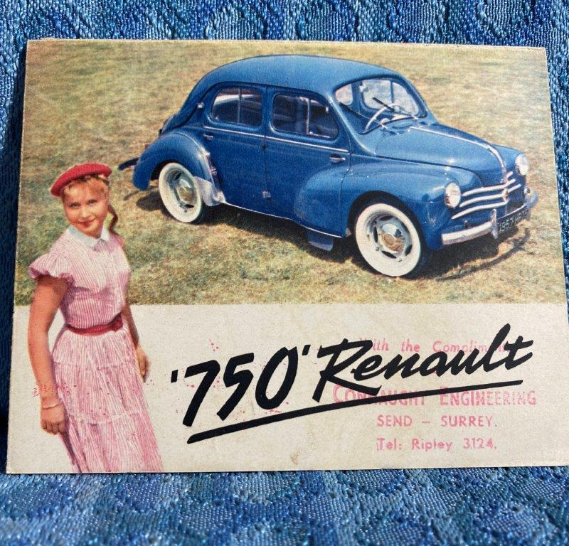 1957 Renault 750 Original Color Sales Brochure in English - U.K. Market