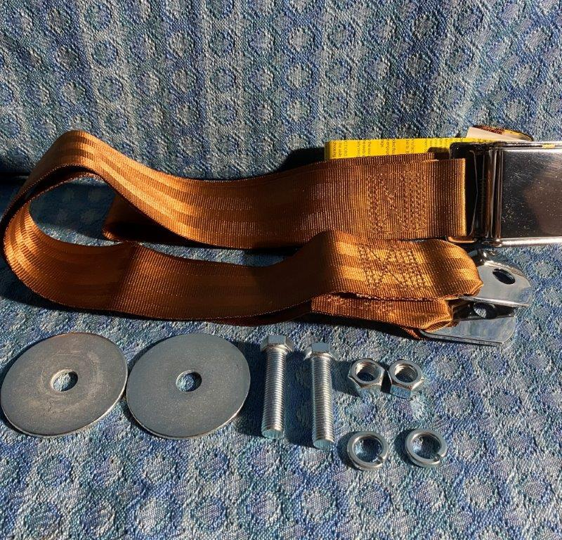 Chrome Lift Latch 74 Inch Copper Color Seat Belt (LAP) GM Ford Mopar