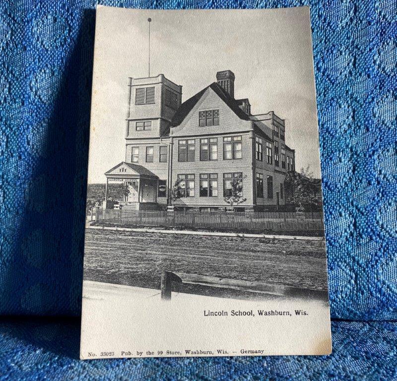 Circa 1908 Lincoln School, Washburn Wisconsin Original Photo Postcard