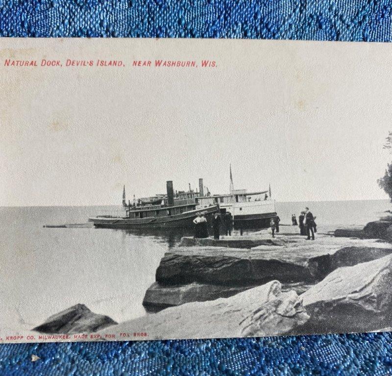 Circa 1908 Natural Dock Devils Island Washburn Wisconsin Original Photo Postcard