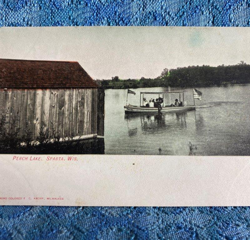 Circa 1908 Perch Lake with Boat, Sparta, Wisconsin Original Photo Postcard