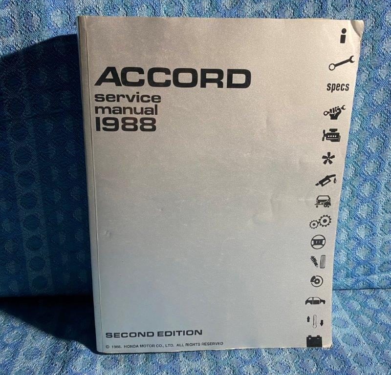 Original OEM Shop Service Manual Covers 1988 Honda Accord