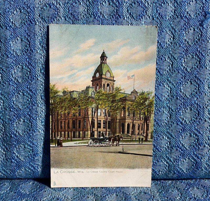 C. 1906 La Crosse Wisconsin County Court House Original R.TUCK Postcard