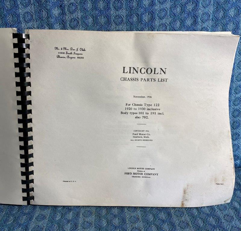 1920-1930 Lincoln Chassis Parts List - Copy 21 22 23 24 25 26 27 28 29 (SEE AD)