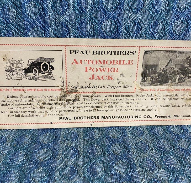 Circa 1915-1920 PFAU Bros Power Jack Original Ink Blotter Car Run Farm Machinery