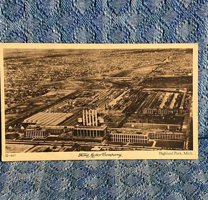 1927 Ford Motor Co Highland Park Michigan Factory / Plant Original Postcard