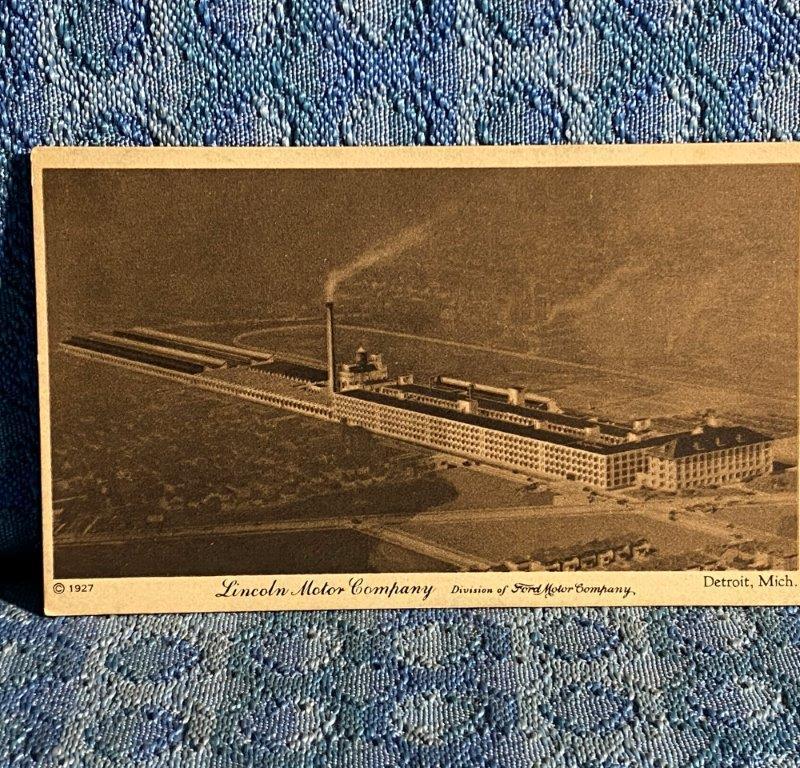 1927 Lincoln Motor Co. Factory / Plant Detroit Michigan Original Postcard