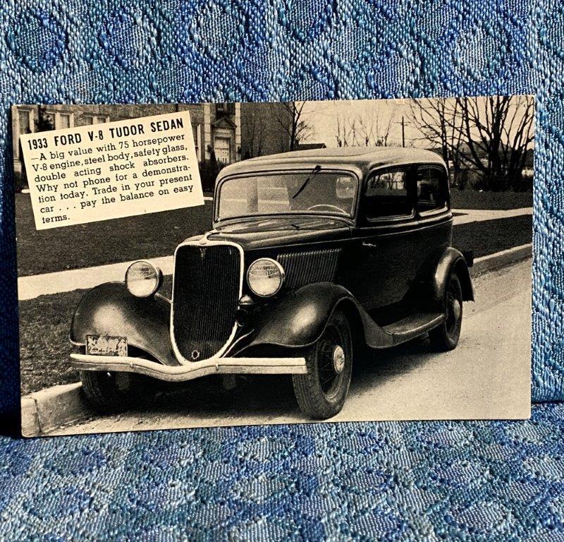 1933 Ford Tudor Sedan NOS Dealer Postcard Crissinger Motor Co. Millersburg PA