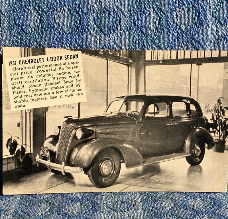 1937 Chevrolet 4 Door Sedan NOS Dealer Postcard Ted Daly Motor Co Palmer TX
