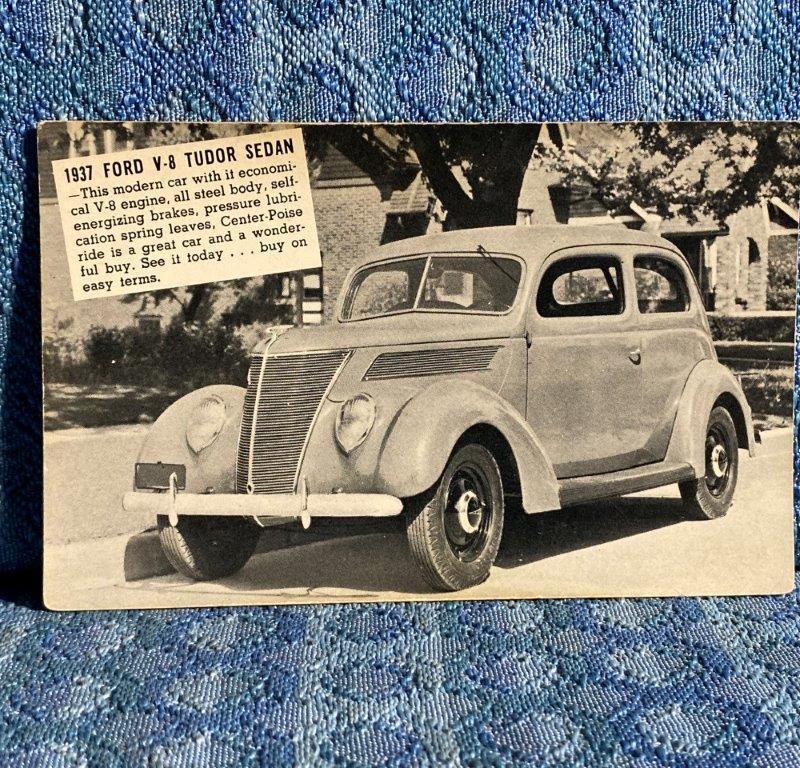 1937 Ford Tudor Sedan Original Dealer Postcard Hornburg Motor Co Hartland WI