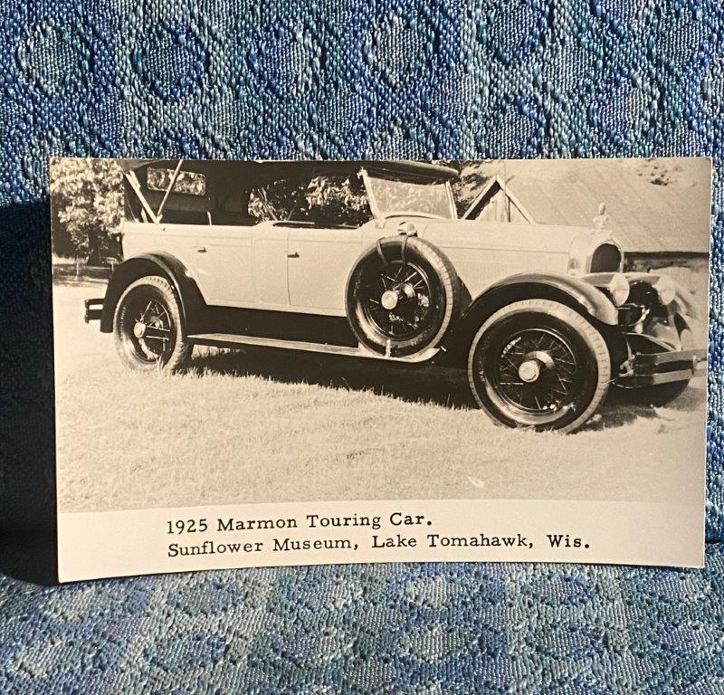 1922 Marmon Touring Car 1968 Vintage Postcard Sunflower Museum Lk Tomahawk WI