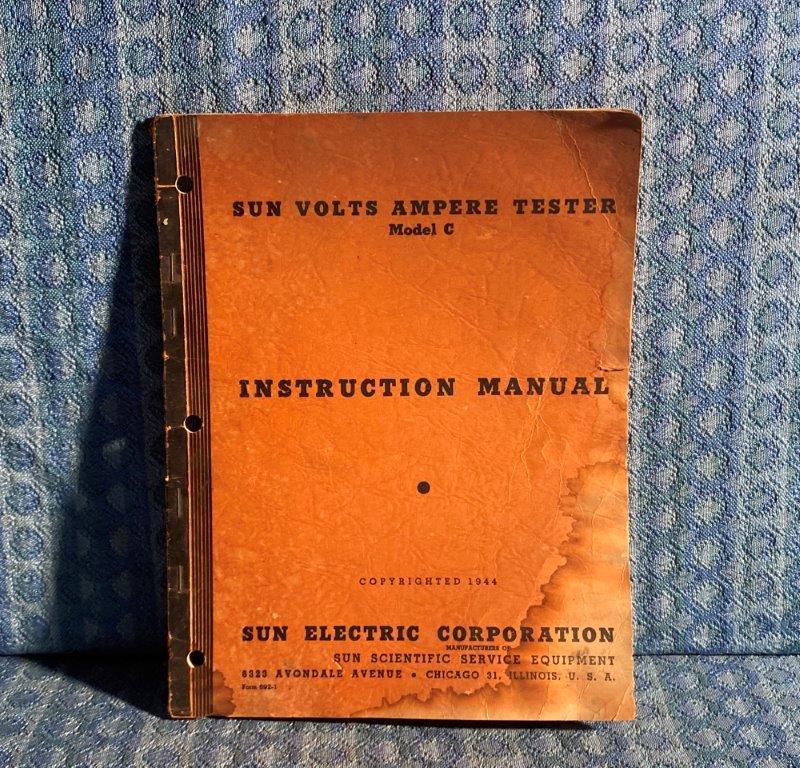 1944 Sun Volts Ampere Tester Model C Original Instruction Manual