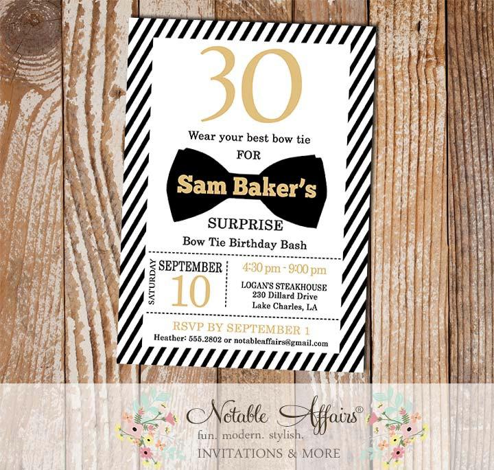 black white gold stripes mileston bow tie birthday invitation