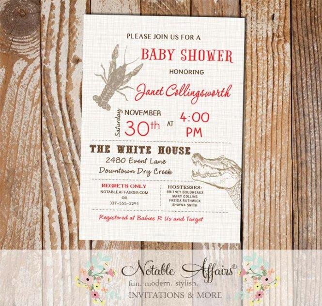 Cajun Style Crawfish Alligator Baby Shower Bridal Invitation On Brown Linen
